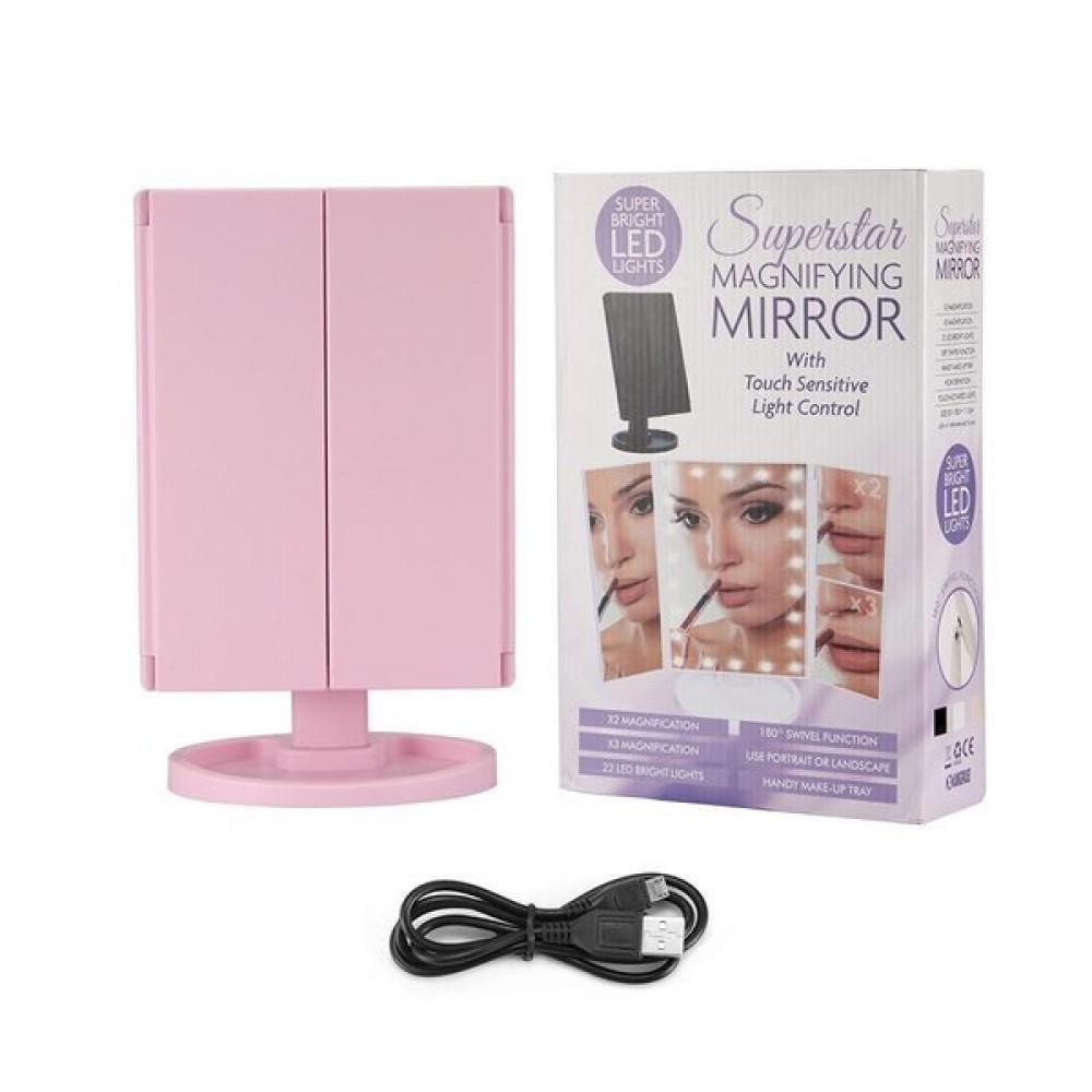 Огледало за гримиране с LED осветление и увеличение - Super цена