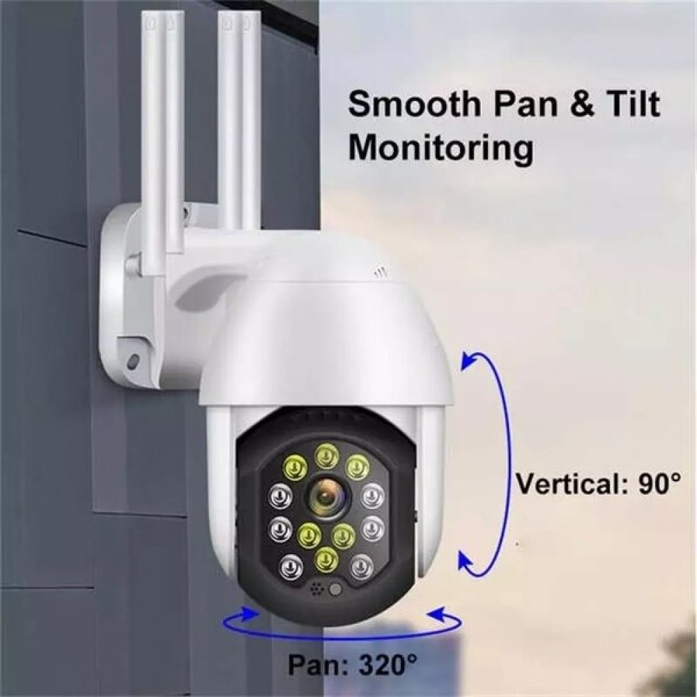Камера за външен монтаж 12 LED, 2MP Full HD, Въртяща, Водоустойчива, Нощно виждане, 4 ант. - Super цена