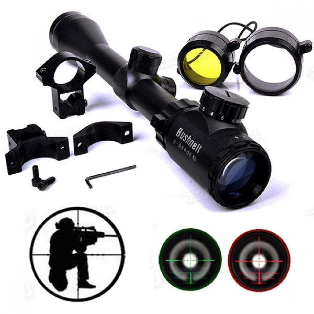 Оптика Bushnell 3-9х40 с монтажни скоби, черен - Super цена