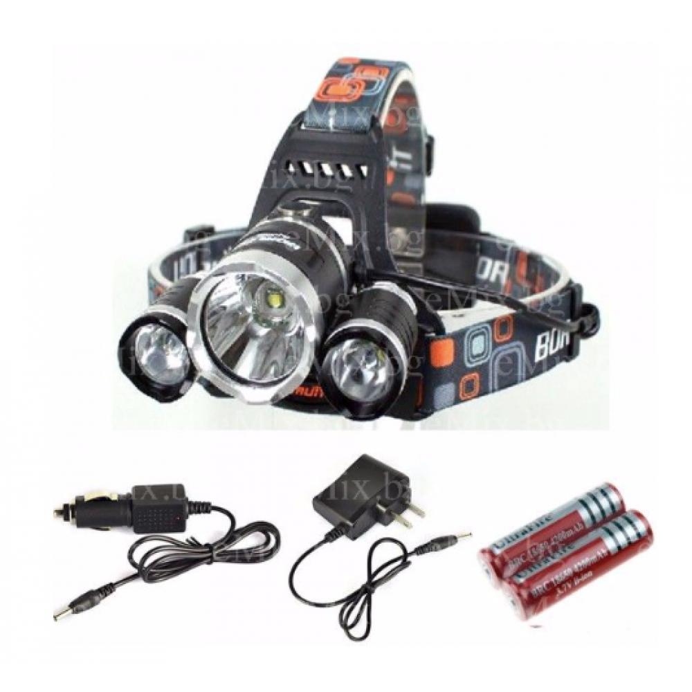 Челник с 3 LED диода + Зарядно за автомобил и мрежово - Super цена