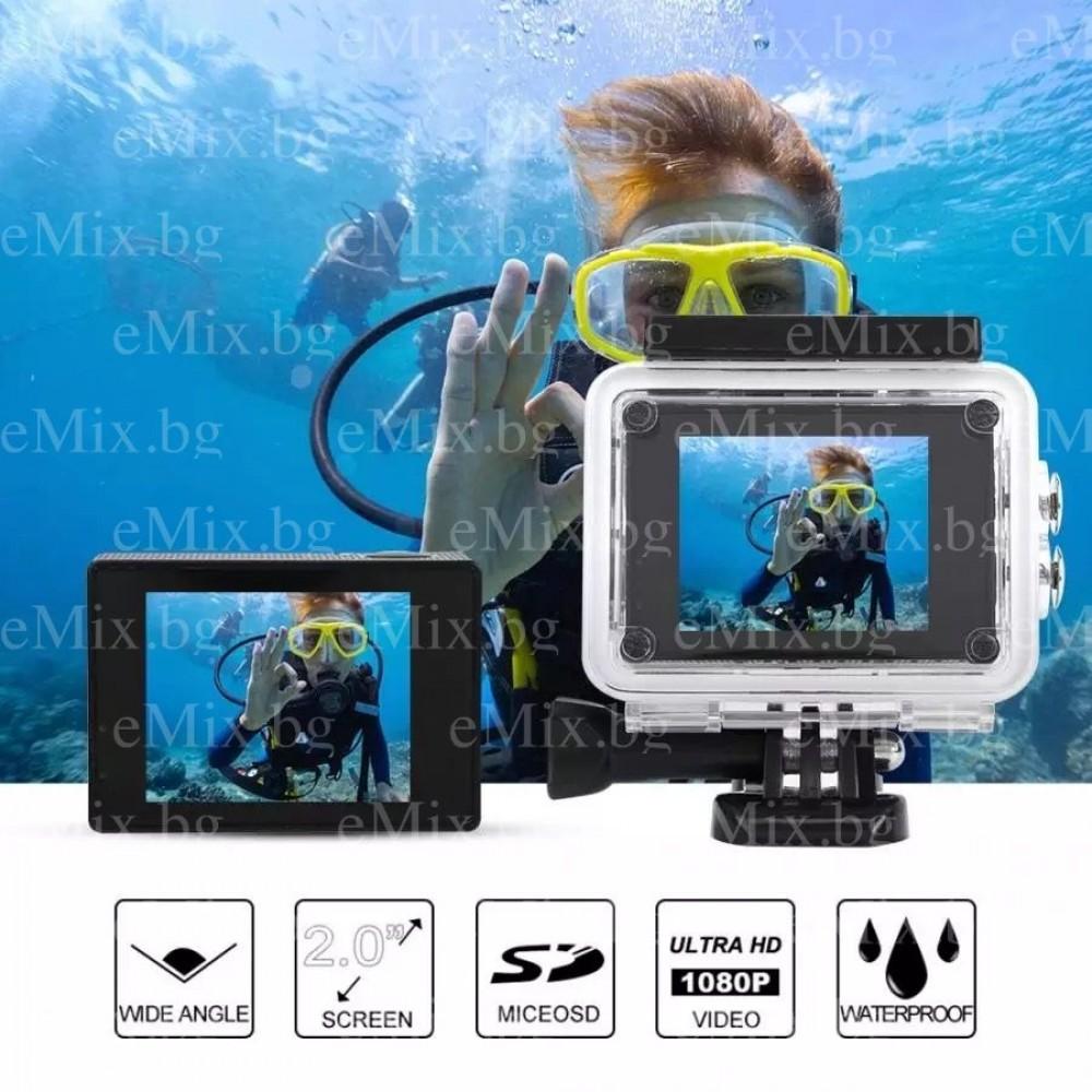 Екшън камера SPORTS CAM-01, водоустойчива, 4K HD, Wi-Fi, дистанционно - Super цена