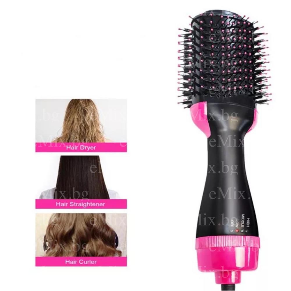 Електрическа четка за сушене и изправяне на коса, Уред 2в1 тип сешоар - Super цена